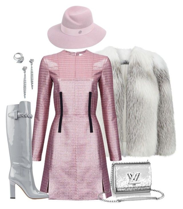 """Grey and pink"" by alenaglush ❤ liked on Polyvore featuring Harrods, Carven, Valentino, Maison Michel, women's clothing, women's fashion, women, female, woman and misses"