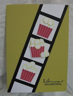 Popcorn card with movie tickets inside  using cupcake punch