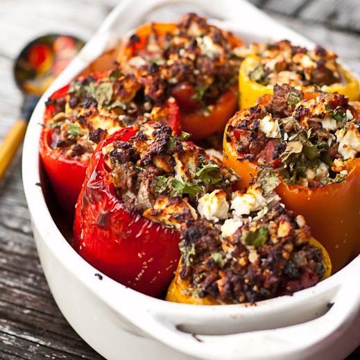 Greek Stuffed Peppers _ I love this combination of lamb, spices, Toasted Pinenuts and Feta.