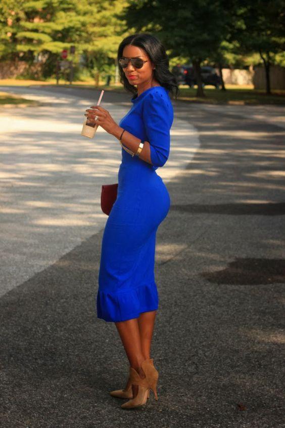Vestidos azul rey abajo de la rodilla