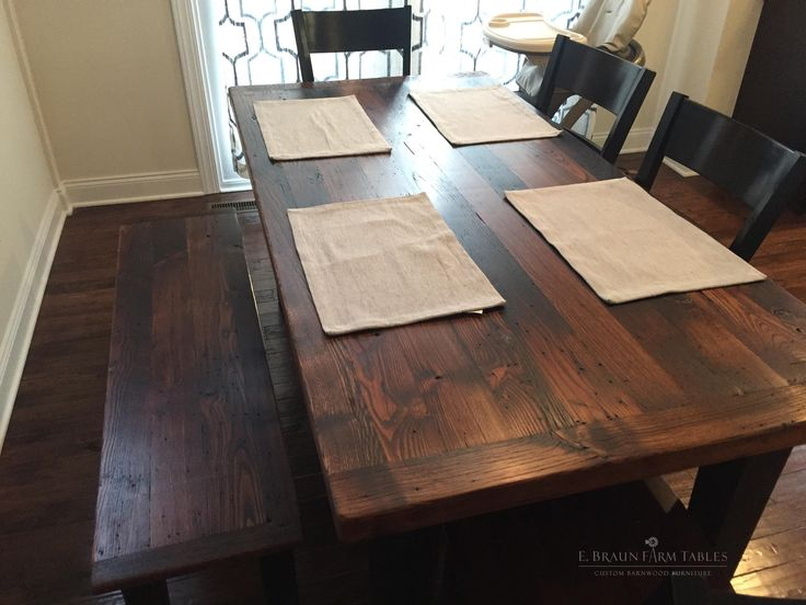 Farm table and bench are both handcrafted using reclaimed wormy American  Chestnut, a species that