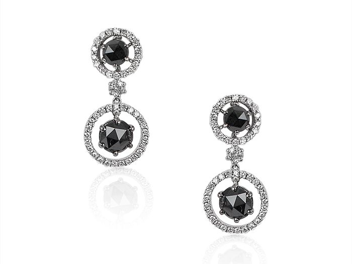 Alson Signature Collection These 18k White Gold Diamond Earrings Feature Four Black Diamonds 2 87