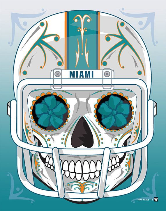 """Miami Dolphins"" Sugar Skull Day of the Dead Calavera Print Inspired by the professional football team"