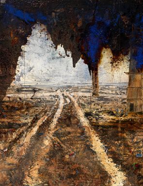 Anselm Kiefer, Rorate caeli desuper, 2016 (detail). Oil, acrylic, emulsion, shellac and clay on canvas, 3 panels, each: 149 5/8 x 74 13/16 in.