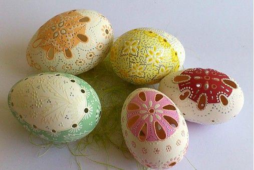 Husacie kraslice madeirové (vŕtané) dvojfarebné / vierickan - SAShE.sk - Handmade Dekorácie