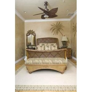 Upscale Tropical Decor Bedroom with Wicker Furniture - Peel and Stick Wall Decal by Wallmonkeys