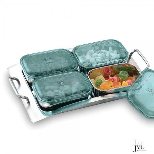 JVL Rectangular Designer Bowl Set, 4-Pieces With Tray | Kitchen ...
