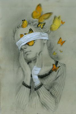 "Beatriz Martin Vidal, ""Blinding Beauty"", Pencil and Gouache, Original dimension unknown.         I am interested in this piece because it has a beautiful, visually pleasing balance between color and pencil. In this sense, it feels as if the drawing is coming to life. The narrative is also unclear and makes me wonder what happened to the girls wrist and why is she blindfolded? She still is seeing beauty behind the bandages, which I find inspiring."