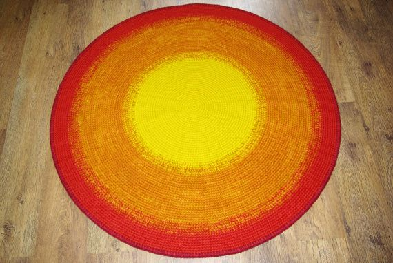 Crochet round rug 49'' 125 cm/Crochet by AnuszkaDesign on Etsy, $115.00