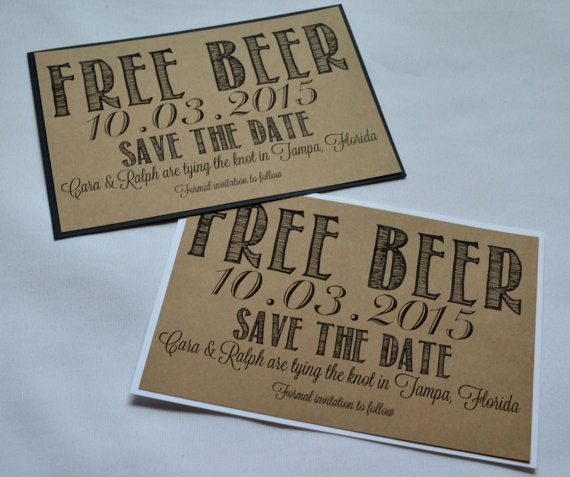 Free Beer Save the Date Cards funny kraft by invitesbythisandthat
