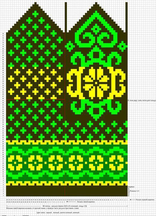 Krāsaini cimdu raksti - Rokdarbu grāmatas un dažādas shēmas