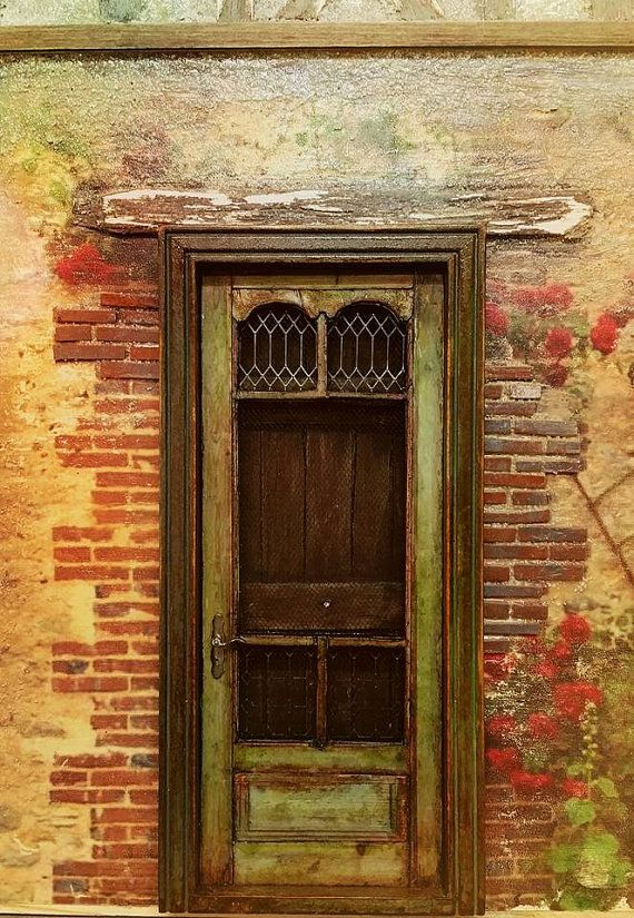 Old French screen door (Real iron windows, screen, hardware and 20 pieces of wood)  Can be made in two different sizes:  7 x 2 1/2 3/16 thick or 5