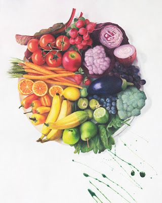"""Eat A Rainbow Art Print by Nicole Caulfield. The original is a 24"""" x 30"""" colored pencil drawing."""