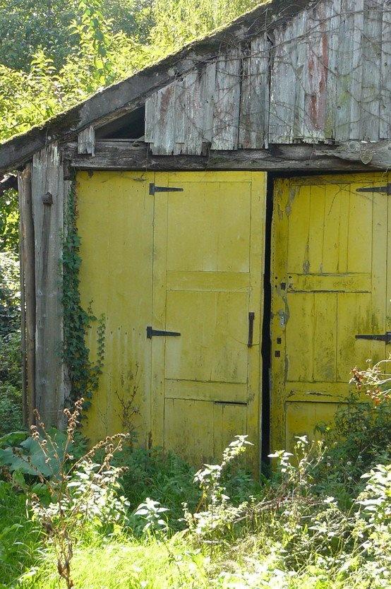 Barn... wish I was a country girl: Farm, Barn Doors, Color, Chartreuse Door, Yellow Doors, Country, Old Barns