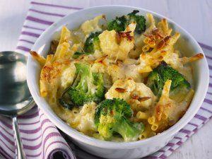 Rezept: Nudelgratin mit Blumenkohl und Brokkoli