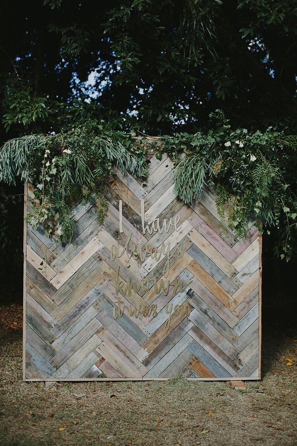Gold Coast Backyard Wedding Rustic Photo Backdrop – captured by Bek Grace on Ruffled