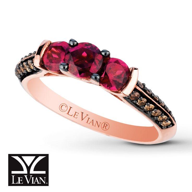 Le Vian Rhodolite Garnet 1/4 ct tw Diamonds 14K Gold Ring