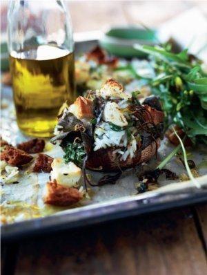 Portobellosvampe med fyld af jasminris og feta | Magasinet Mad!