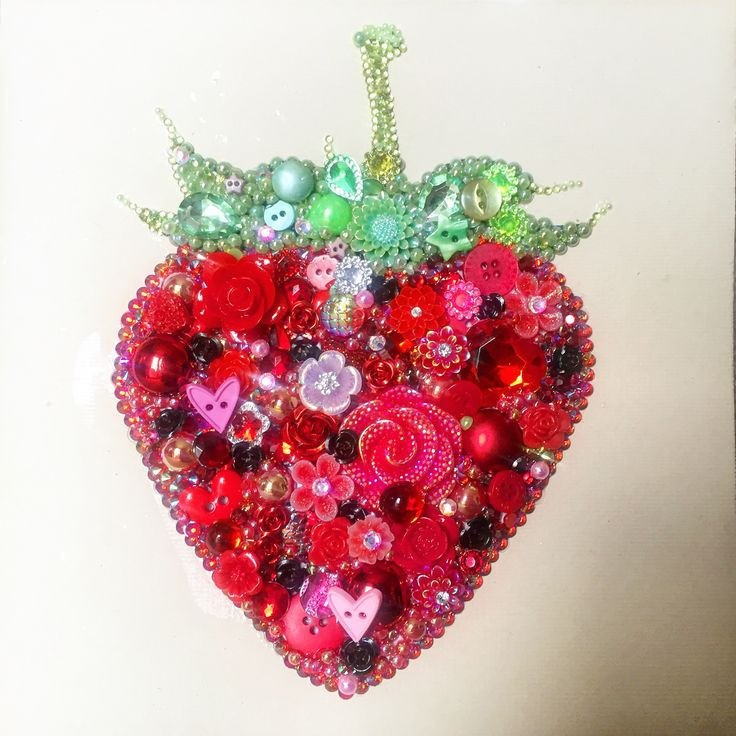 Strawberry button and mixed Media art on canvas