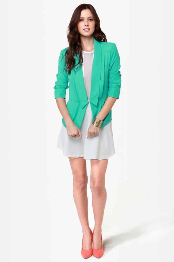 Cute Mint Green Blazer - Peplum Blazer