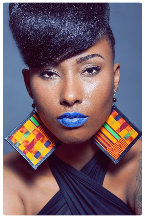 The YEMI earrings AFRICAN PRINT fabric and leather earrings on Etsy, $30.00