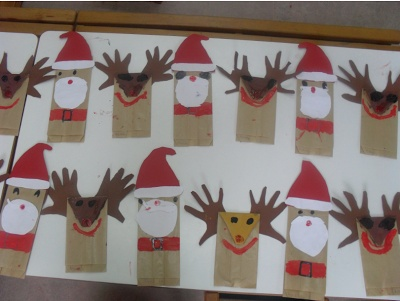 ...Το Νηπιαγωγείο μ' αρέσει πιο πολύ.: Δημιουργήσαμε χριστουγεννιάτικο πίνακα ανάφοράς στον υπολογιστή κια κάναμε κούκλες Άη Βασίλη κια Ρούντολφ με χαρτοσακούλα.