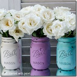 mason jars: painted  distressed - It All Started With Paint