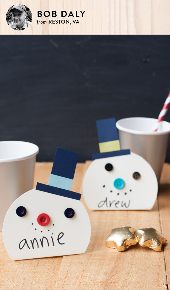 DIY snowman place cards - instructions courtesy of Minted artist Bob Daly at minted.com/julep