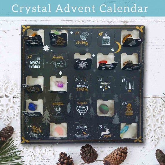 Geology Stone Gifts Box,Healing Crystal Advent Calendar Kids with Rock Collections Pebbles Polished Gravel Christmas Countdown Calendars
