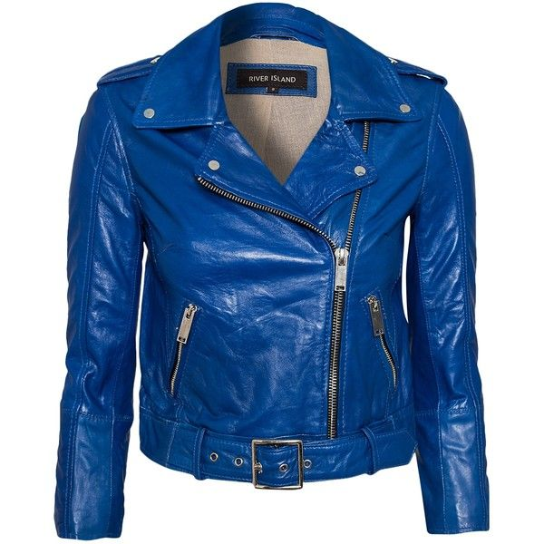 River Island Cropped Leather Jacket (385 BRL) ❤ liked on Polyvore featuring outerwear, jackets, blue, coats, tops, coats & jackets, womens-fashion, leather zip jacket, zipper leather jacket and real leather jackets