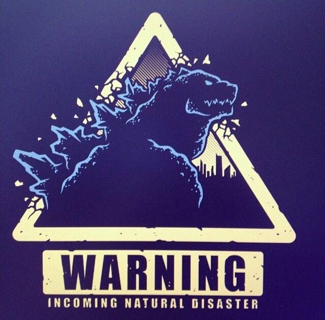 Warning Incoming Natural Disaster. Cool tshirt inspired by the new Godzilla 2014