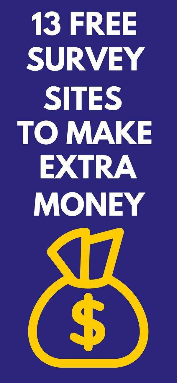 13 free survey sites to make extra money #surveysforcash #makemoneyonline