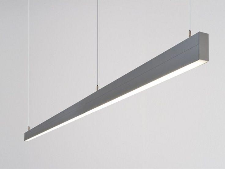 Aluminium pendant lamp SNAP DUO by Orbit (ca 2400mm lang); bestaat zowel in een hangende versie (bv. voor bureau) als in een versie voor aan plafond (bv. voor boven keukeneiland)
