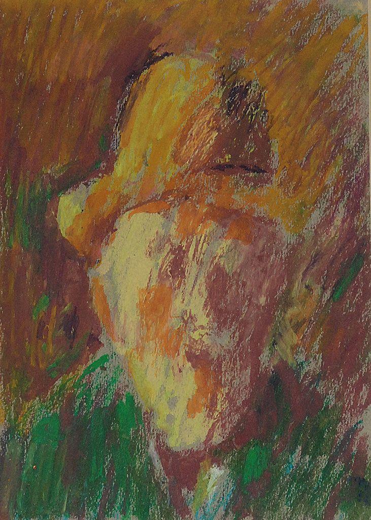 Jerzy PANEK (1918-2001)  Autoportret w żółtym kapeluszu pastel, papier;  29 x 20,5 cm (w świetle oprawy)