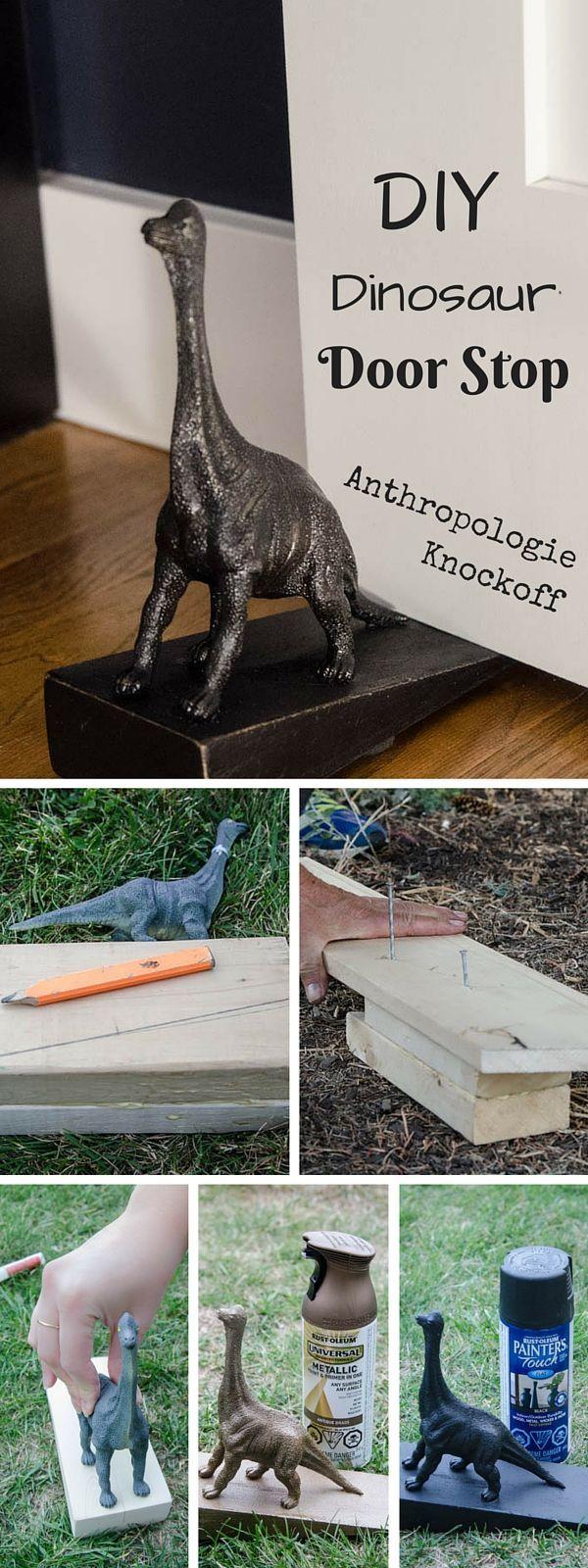 Bastelidee für Erwachsene - Dinosaurier Türstopper - fürs Kinderzimmer - Supereasy *** Check out the tutorial: DIY Anthropologie Dinosaur Door Stop Knockoff crafts #homedecor