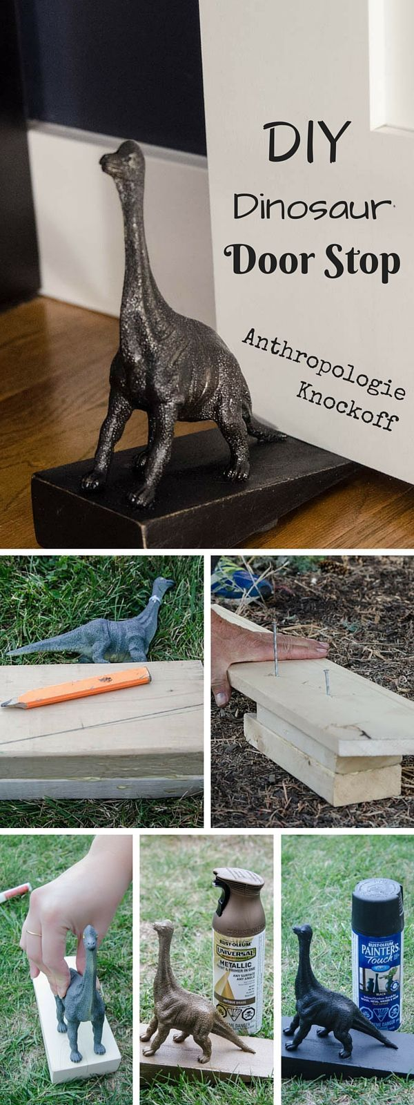 Check out the tutorial: #DIY Anthropologie Dinosaur Door Stop Knockoff #crafts #homedecor