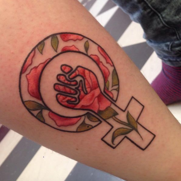 Feminist Rose Tattoo by Clara Welsh