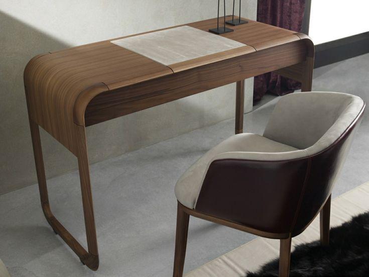 meuble-coiffeuse-bois-style-rétro-tiroirs-miroir-rabattable-fauteuil-cuir meuble coiffeuse