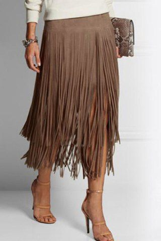 Stylish Multi-Layered Fringe Solid Color Suede Skirt For WomenSkirts | RoseGal.com