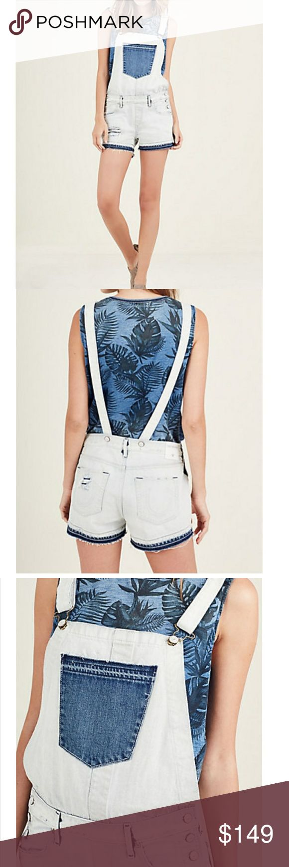 True Religion Overall Shorts Many sizes Today Only True Religion Overall Shorts. Size 23 -31 available. Msg or comment size.  Crisp white denim, accented with large, single front pocket and hem details. 100% Cotton. Imported. Today Only Sales! True Religion Other