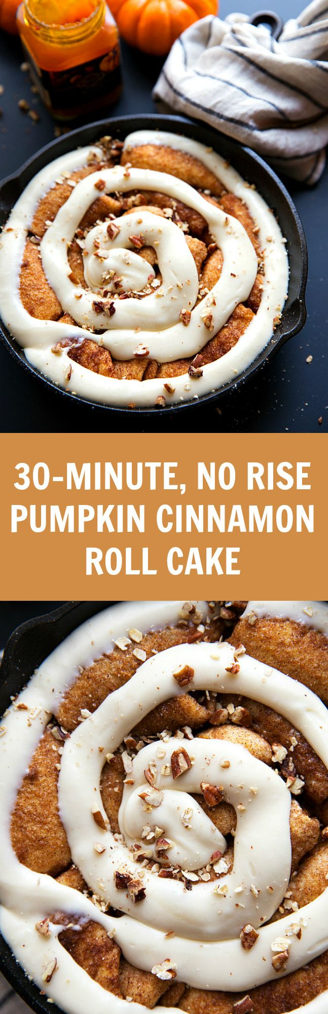 NO yeast or rising!! Easy pumpkin cinnamon roll cake. A great breakfast for Thanksgiving or Holiday get togethers!:
