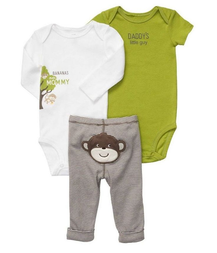 NWT Carters Baby Boy Clothes 3 Piece Set Green White Monkey 3m 0-3 Months