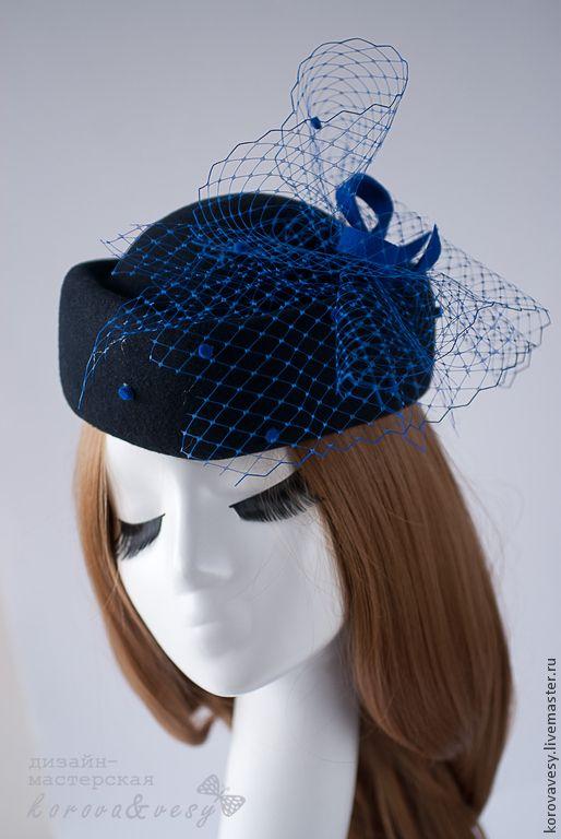 """Купить Шляпка-таблетка """"Синие сумерки"""" - черный, шляпка, шляпка женская, шляпка с вуалью"""