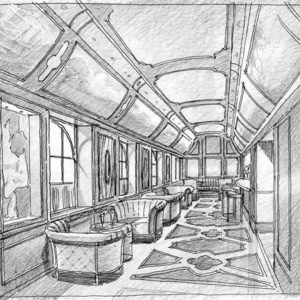 Architectural Renderings In Pen And Ink The Train Library Westchester NY Interior House