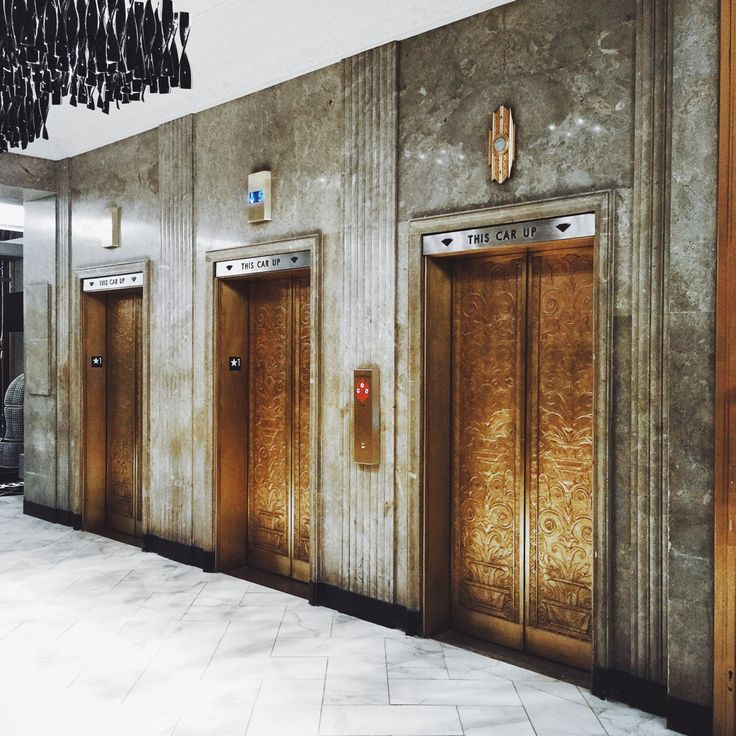"patrickmccuephotography: "" The beautiful original elevator doors at the…"