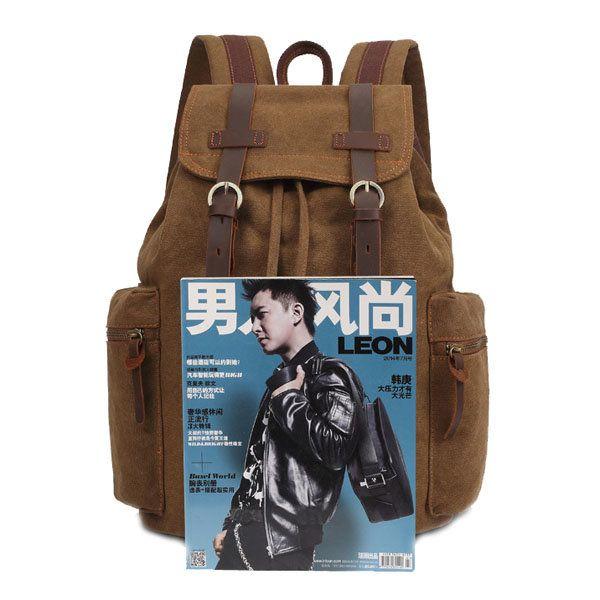 KAUKKO Canvas Genuine Leather Outdoor Big Capacity Shoulders Bag Backpack - US$42.39  #men #women  #bags #fashion