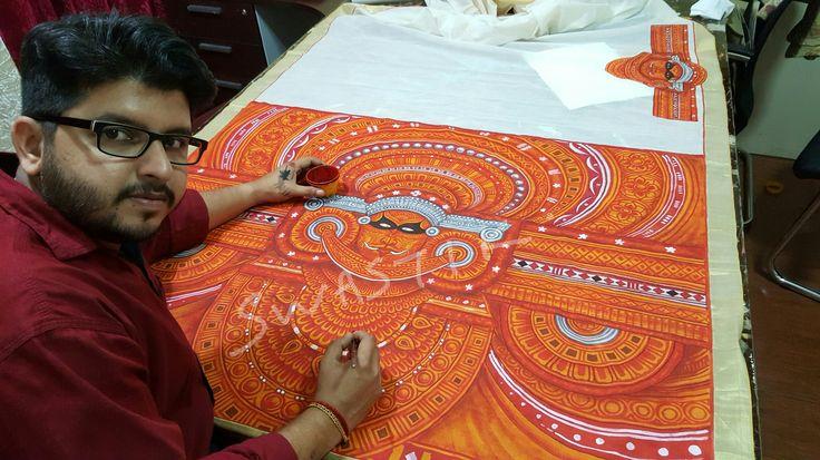 Theyyam  on  kerala  saree # fabricpaintings #muralfabricpaintings #paintingsforsale #theyyam  #art #keralamuralpaintings