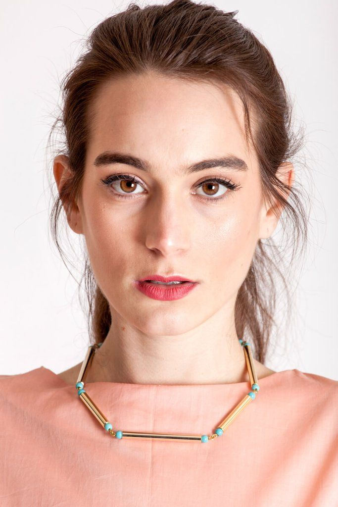 Gold edition: made of hand-cut and galvanized brass and turquoise.