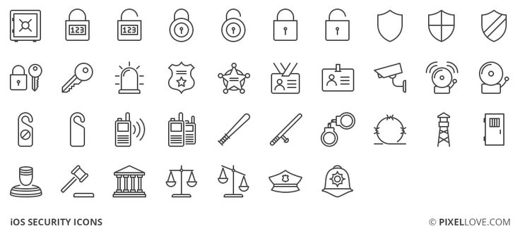 A set of iOS tab bar icons, toolbar icons and 3d touch icons of security, prison, justice and safety.