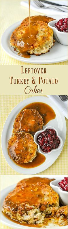 Leftover Turkey Potato Cakes - pure comfort food heaven, from #leftovers ! These crispy turkey cakes may be even better than the original turkey dinner. Perfect for after #thanksgiving or Christmas!